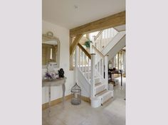 Find inspiration for your own oak framed home or outbuilding by viewing our stunning galleries House Staircase, Stairs, Staircases, Oak Frame House, New Homes, House Styles, Gallery, Building, Houses