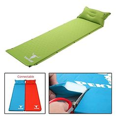 OVI Lightweight SelfInflating Camping Sleeping Travel MatPad With Attached Inflatable Pillow Quick Flow Compact Air Mattress Green -- ** AMAZON BEST BUY **  #SleepingPads