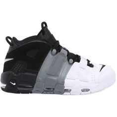 Nike Men Air More Uptempo '96 Leather Sneakers ($240) ❤ liked on Polyvore featuring men's fashion, men's shoes, men's sneakers, nike mens shoes, mens leather sneakers, mens leather shoes, mens sneakers and mens lightweight running shoes