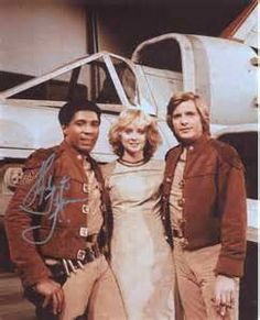 "Boomer(Herb Jefferson, jr.)Cassiopia(Laurette Spang) and Starbuck(Dirk Benedict), from the original ""Battlestar Galactica"", 1970s."