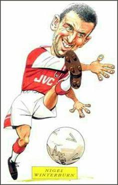 Nigel Winterburn of Arsenal in cartoon mode.