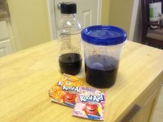 Unflavored Kool Aid packets with simple syrup to make mixes for flavors such as orange and grape soda.