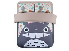 Amazon.com - Casofu® Gray Totoro Bedsheet Style Bedding Set, Cartoon Bedding Sets for Kids, Twin/Full/Queen -