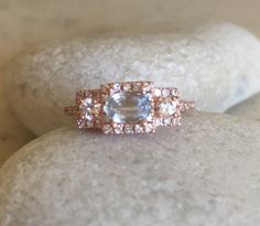 Oval Blue Sapphire Rose Gold Ring- Three Stone Anniversary Ring- Art Deco Gatsby Ring- September Birthstone Ring- Bridal Engagement Ring by Belesas on Etsy https://www.etsy.com/listing/268503267/oval-blue-sapphire-rose-gold-ring-three