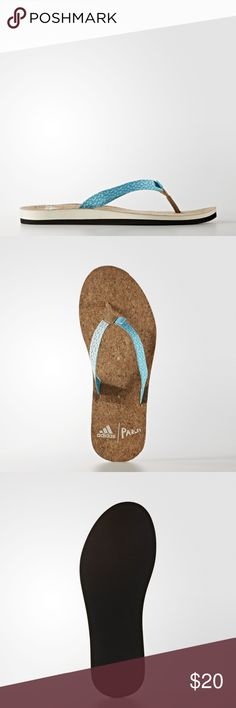 adidas Eezay Parley Flip-Flops Women's Size 9 NIB Since beach wear should keep the water in mind, the strap of these women's flip-flops is constructed using yarn that features Parley Ocean Plastic. They have a 100% natural cork footbed and a recycled, lightweight EVA outsole and midsole.  Details Designed with Parley yarn made from recycled ocean waste.  100% natural Cork footbed.  Recycled EVA midsole.  Made with ocean conservation in mind. Cork in footbed is a substance that regrows…