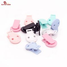 Inst 100 Square Plastic Pacifier Clips Id Badge Holder