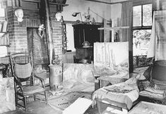 Emily Carr's studio at her house on St. Andrew's Street in Photograph by Kenneth McAllister, courtesy of City of Victoria Archives, image Emily Carr, Canadian Painters, Canadian Artists, Study In London, Vancouver Art Gallery, Group Of Seven, Paris Art, Impressionist Paintings, Paris Shows