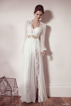 Lihi Hod spring 2013 #bridal collection: long sleeve #wedding dress with gold accents #weddinggown #weddingdress