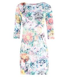White Digital Floral Print 1/2 Sleeve Mini Bodycon Dress
