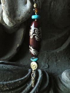 Gemstone Unique Keychain Asian Amulet Fob Tibetan by MinedStars