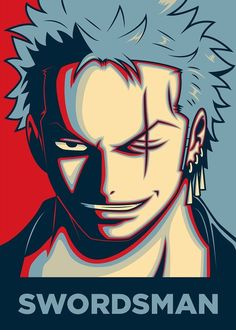 """Beautiful """"ZORO THE SWORDSMAN"""" metal poster created by Christopher Sanabria. Anime One Piece, Zoro One Piece, Manga Anime, Anime Art, Manga Girl, Anime Girls, One Piece Wallpaper Iphone, One Piece Figure, Monkey D Luffy"""