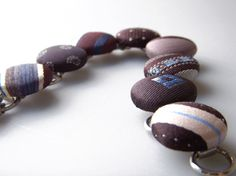 Recycled Necktie Button Bracelet  Brown / Blue by AscotHandbags