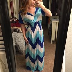 Blue Chevron Maxi Dress Worn once! Super soft material. It's pretty stretchy so I imagine it can fit small to large sizes. Dresses Maxi