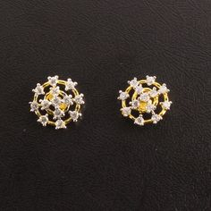 Clic Earring Cz White Stone Studded Rhodium Stoneclic Goldstudsearringsproducts