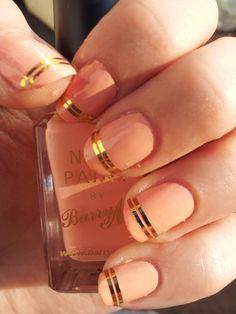 Peach with gold tape striping. Nail Ring, Nail Manicure, Diy Nails, Fancy Nails, Love Nails, Pretty Nails, Toe Nail Color, How To Grow Nails, Striped Nails
