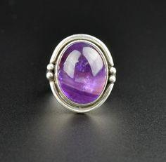 Vintage Silver Amethyst Cabochon Gemstone Ring  #Sterling #Amethyst #Natural #Vintage #intage #Silver #Ring #Buy #Rhinestone #Austro