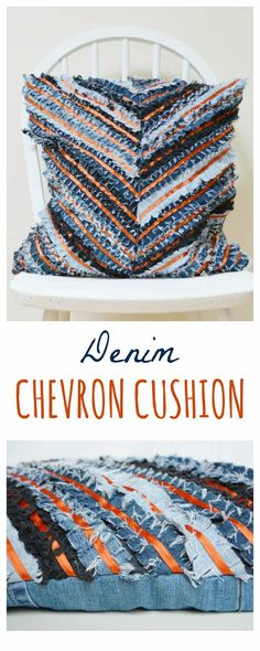 Create a denim chevron cushion using old pairs of jeans. Step by Step tutorial shows you how to sew this upcycled denim cushion cover. DIY Denim Cushion.