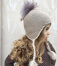 a9a8ae371c9 Crochet Knit Girls Bonnet Hat with Ear Flaps and 100% Raccoon Fur Colored Pom  Pom