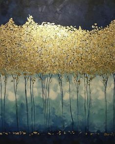Large Abstract Oil Painting, Gold Leaf Art, Large Wall Art, Canvas Art, Golden Trees Original Painting Abstract Painting by Julia Kotenko Große abstrakte Ölgemälde Kunst Gold Malerei Wand Dekor Abstract Tree Painting, Diy Painting, Abstract Trees, Painting Trees, Large Painting, Moon Painting, Large Canvas Wall Art, Canvas Art, Canvas Ideas
