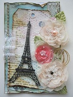 "paris tag- not a ""Paris"" fan, but I love the layout, flowers, and especially the twine as part of the flower spray"