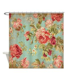 Vintage Rose Floral Shower Curtain #zulily #zulilyfinds would match my towel colors perfectly!