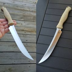 "Just finished this kitchen knife for friend. Natural canvas handle, 7"" CPM 154 blade. 12"" overall length. Nasty sharp!!"