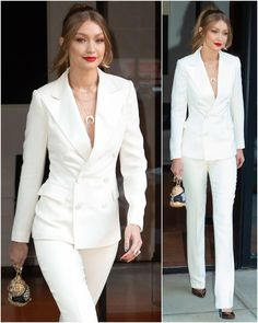 Luxury Women S Fashion Watches Paris Chic, Suit Fashion, Fashion Outfits, Womens Fashion, Classy Fashion, Costume Blanc, White Pantsuit, Classy Suits, Elegantes Outfit