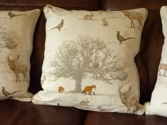 Woodland Cushion 16 inch with piping edge Cover by Jelubee Country Cushions, Door Stop, Soft Furnishings, Cushion Covers, Woodland, I Shop, Cotton Fabric, Throw Pillows, Inspiration