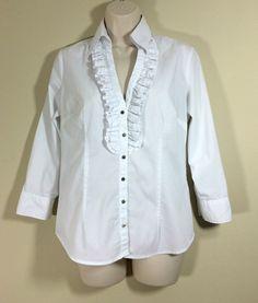 90478b20d NEW YORK & COMPANY Womens White Ruffle Button Down Shirt Sz Small  Stretch #NewYorkCompany