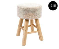 Reposapiés en madera de pino Nuki - beige y natural Stool, Furniture, Beige, Natural, Home Decor, Shopping, Wood, Home, Blue Prints