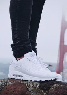 Nike air max 90 all white Nike Shoes Cheap, Nike Free Shoes, Nike Shoes Outlet, All White Nike Shoes, Air Max 90, Air Max Thea, Sneakers Mode, Air Max Sneakers, Sneakers Fashion