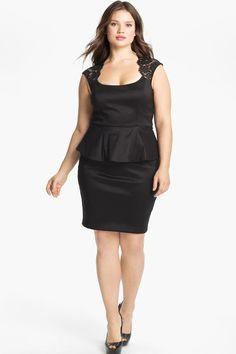 Black Satin Short Plus Size Cocktail Dress