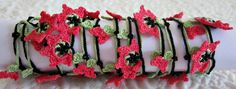 Handmade Crochet Necklace Oya with Dark Pink Flowers by redappletr, $19.99