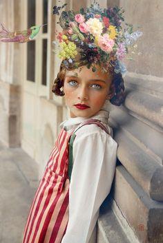 Floral portrait of a child by Wanda Kujacz