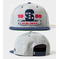 Men's Stussy The S Logo Stars 1980 Worldwide Snapback Hat - Grey / Navy