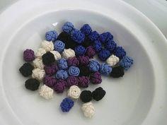 Marokkanische Kunst Seide Perlen/Tasten handgemacht Blumen
