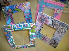 wooden frames in acrylic paint and ink  http://insightsandbellylaughs.com/?p=5707#