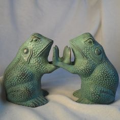 Lillian Vernon-Brass Bookends Frog- Original Marked Lillian Vernon Brass Frogs-Mid Century Book Ends