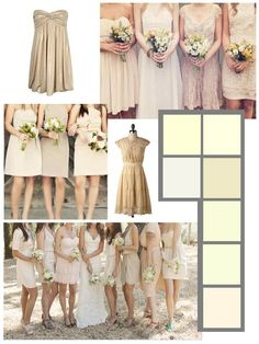 Cream bridesmaid dresses/ LOVE THE IDEA OF SIMILAR, BUT DIFFERENT DRESSES & COLOR!!!