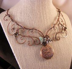 wire jewelry  copper jewelry  wire necklace with by DebraNicholls, $78.00