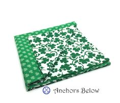 St. Patrick's Day Pocket Square  Four Leaf Clover by AnchorsBelow