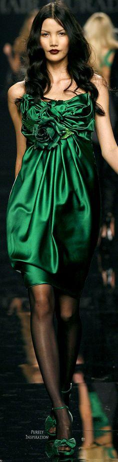 Green silk midi dress for Zuhair Murad ༺༻ Zuhair Murad, Trendy Dresses, Nice Dresses, Short Dresses, Mode Glamour, Satin Color, Green Silk, Green Fashion, Elie Saab