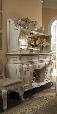 """Caravelle"" white Shabby Chic sideboard & china cabinet with Rococo accents from Magnolia Hall."