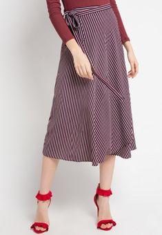 Mineola Wrap Stripe Skirt Red