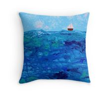 Tiny Boat on Abstract Dripping Ocean Throw Pillow  Available now on RedBubble