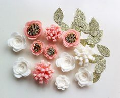 12 Hand made felt 3d flowers/roses & 12 gold by cutzbothways