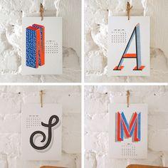 Wandkalender - typographischer Kalender 2014 by Small Caps - ein Designerstück von smallcaps bei DaWanda