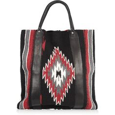TOTeM Salvaged Leather-trimmed cotton tote ($300) ❤ liked on Polyvore