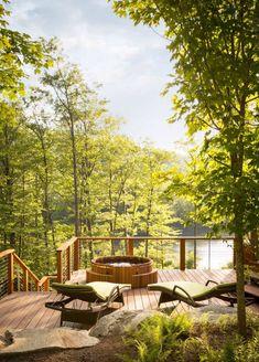 23 Amazing Sun Deck Ideas To Inspire Your Own Backyard Getaway Hot Tub Garden, Hot Tub Backyard, Diy Garden, Backyard Patio, Jacuzzi Outdoor Hot Tubs, Backyard Retreat, Garden Ideas, Spas, Sunken Hot Tub