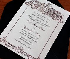 Vintage baroque bordered wedding invitation with matching envelope.  | Invitations by Ajalon | invitationsbyajalon.com